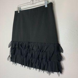 Ann Taylor Skirts - Ann Taylor Black Fringe Bottom Skirt Size 4